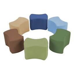 "Foam Soft Seating - Bow Tie Set (Six Pieces - 10"" H) - Earthtone"