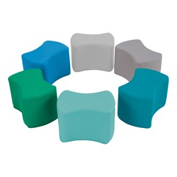 """Foam Soft Seating - Bow Tie Set (Six Pieces - 10"""" H) - Contemporary"""