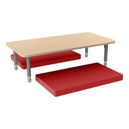 Rectangle Classroom Floor Table w/ Premium Rectangular Floor Mats - Red w/ Maple Edgeband Table