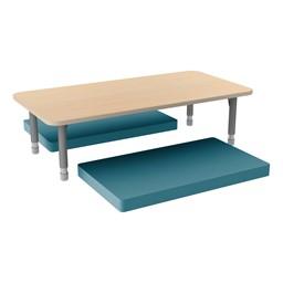 Rectangle Classroom Floor Table w/ Premium Rectangular Floor Mats - Teal w/ Maple Edgeband Table