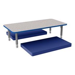 Rectangle Classroom Floor Table w/ Premium Rectangular Floor Mats - Blue w/ Blue Edgeband Table