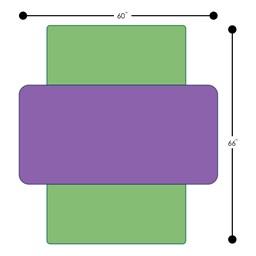 Rectangle Classroom Floor Table w/ Premium Rectangular Floor Mats - Dimensions