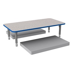 Rectangle Classroom Floor Table w/ Premium Rectangular Floor Mats - Gray w/ Blue Edgeband Table