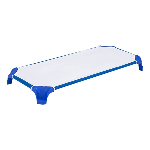 Deluxe Blue Stackable Daycare Cot w/ Easy Lift Corners shown with sheet