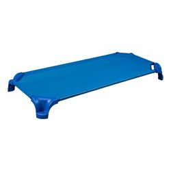 "Deluxe Blue Stackable Daycare Cot w/ Easy Lift Corners and Sheets - Standard (52"" L) - Pack of 12 Cots"