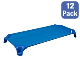 """Deluxe Blue Stackable Daycare Cot w/ Easy Lift Corners - Standard (52"""" L) - Pack of 12 Cots"""