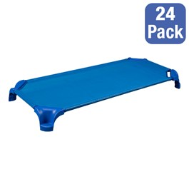 """Deluxe Blue Stackable Daycare Cot w/ Easy Lift Corners - Standard (52\"""" L) - Pack of 24 Cots"""