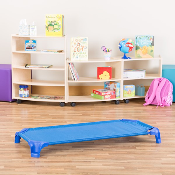 "Deluxe Blue Stackable Daycare Cot w/ Easy Lift Corners - Standard (52"" L) - Pack of 24 Cots"