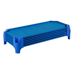 "Deluxe Blue Stackable Daycare Cot w/ Easy Lift Corners - Standard (52"" L) - Pack of 24 Cots - Stacked Cots"