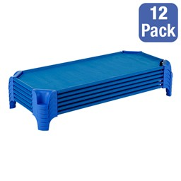"""Deluxe Blue Stackable Daycare Cot w/ Easy Lift Corners - Toddler (40"""" L) - Pack of 12 Cots - Stacked Cots"""