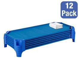 """Deluxe Blue Stackable Daycare Cot w/ Easy Lift Corners and Sheets - Standard (52\"""" L) - Pack of 12 Cots - Stacked Cots"""
