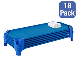 "Deluxe Blue Stackable Daycare Cot w/ Easy Lift Corners and Sheets - Standard (52"" L) - Pack of 18 Cots - Stacked Cots"