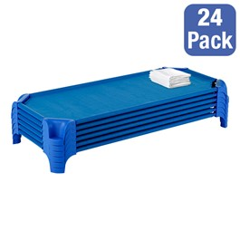 """Deluxe Blue Stackable Daycare Cot w/ Easy Lift Corners and Sheets - Standard (52\"""" L) - Pack of 24 Cots - Stacked Cots"""