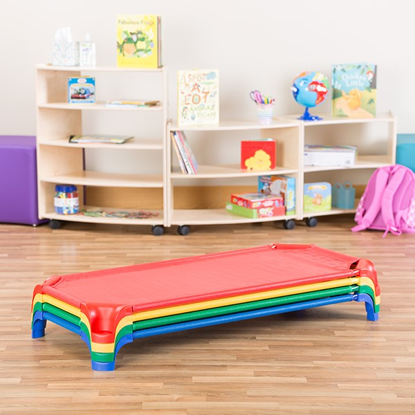 """Deluxe Assorted Stackable Daycare Cot w/ Easy Lift Corners - Standard (52"""" L) - Pack of 16 Cots"""