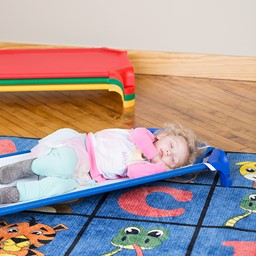 """Deluxe Assorted Stackable Daycare Cot w/ Easy Lift Corners - Standard (52"""" L) - Pack of 12 Cots"""