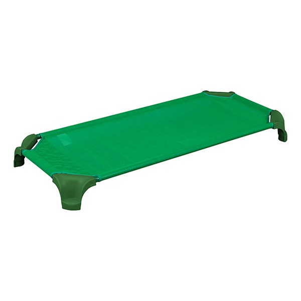 """Deluxe Assorted Stackable Daycare Cot w/ Easy Lift Corners - Standard (52"""" L) - Pack of 16 Cots - Green"""