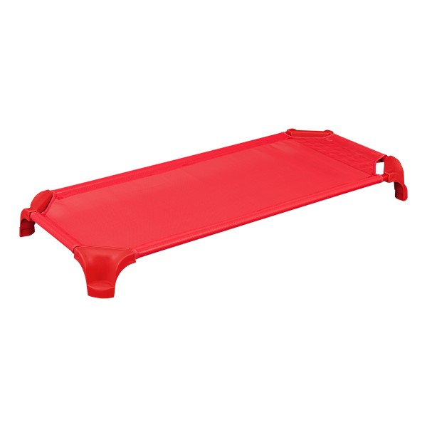"""Deluxe Assorted Stackable Daycare Cot w/ Easy Lift Corners - Standard (52"""" L) - Pack of 12 Cots - Red"""