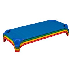 """Deluxe Assorted Stackable Daycare Cot w/ Easy Lift Corners - Standard (52"""" L) - Pack of 12 Cots - Stacked Cots"""