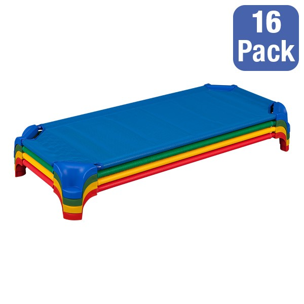 """Deluxe Assorted Stackable Daycare Cot w/ Easy Lift Corners - Standard (52"""" L) - Pack of 16 Cots - Stacked Cots"""