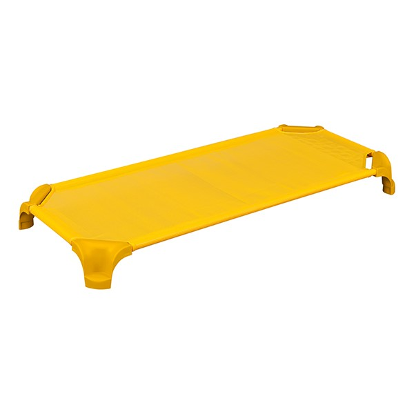"""Deluxe Assorted Stackable Daycare Cot w/ Easy Lift Corners - Standard (52"""" L) - Pack of 16 Cots - Yellow"""