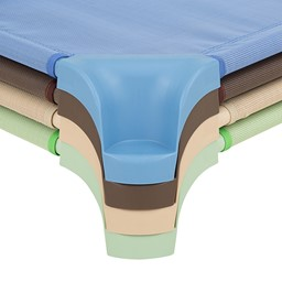 "Deluxe Assorted Natural Colors Stackable Daycare Cot w/ Easy Lift Corners - Standard (52"" L) - Corners - Stacked"