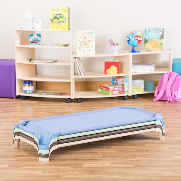 Deluxe Assorted Natural Colors Stackable Daycare Cot w/ Easy Lift Corners - Stacked