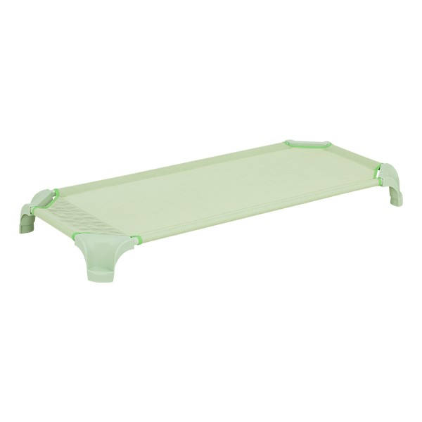 "Deluxe Assorted Natural Colors Stackable Daycare Cot w/ Easy Lift Corners - Standard (52"" L) - Green"