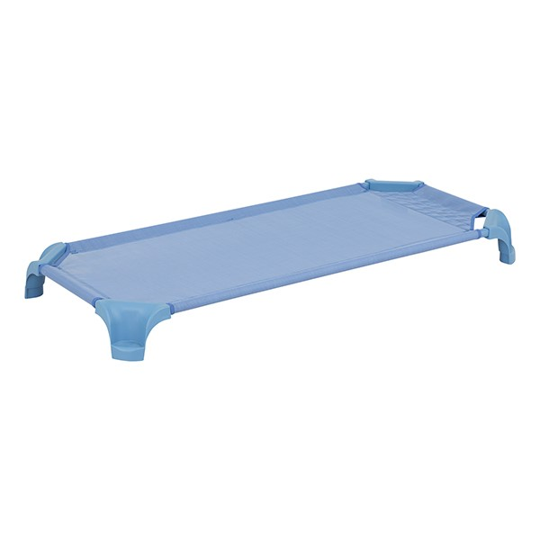 "Deluxe Assorted Natural Colors Stackable Daycare Cot w/ Easy Lift Corners - Standard (52"" L) - Sky Blue"