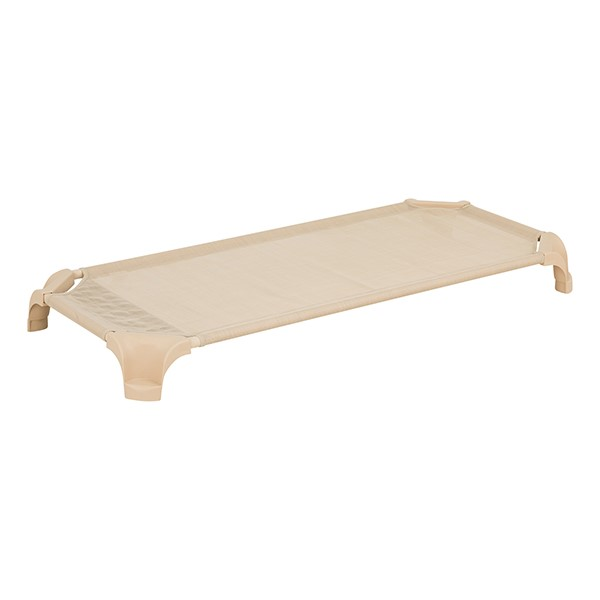 "Deluxe Assorted Natural Colors Stackable Daycare Cot w/ Easy Lift - Corners - Standard (52"" L) - Sand"