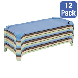 """Deluxe Assorted Natural Colors Stackable Daycare Cot w/ Easy Lift Corners - Standard (52\"""" L) - Pack of 12 Cots - Stacked Cots"""