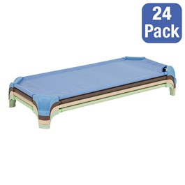 "Deluxe Assorted Natural Colors Stackable Daycare Cot w/ Easy Lift Corners - Standard (52"" L) - Pack of 24 Cots - Stacked Cots"