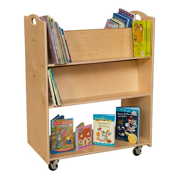 Double-Sided Mobile Library Cart - Accessories not included