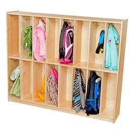 Wooden 16-Section Locker Unit