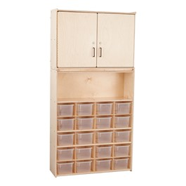 20-Tray Wooden Storage Unit w/ Cabinet & Clear Bins - Assembled