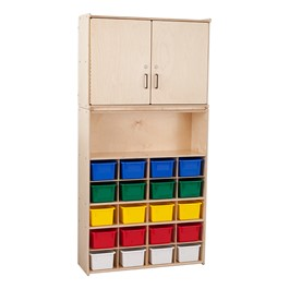 20-Tray Wooden Storage Unit w/ Cabinet & Assorted Color Bins - Assembled