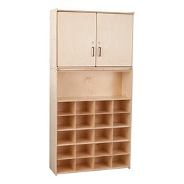 20-Tray Wooden Storage Unit w/ Cabinet - Assembled
