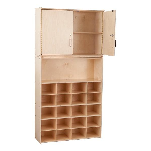 20-Tray Wooden Storage Unit w/ Cabinet - Unassembled