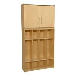 Wooden Storage Cabinet w/ Four-Section Locker Units