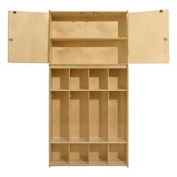 Wooden Storage Cabinet w/ Four-Section Locker Units - Environmental shot