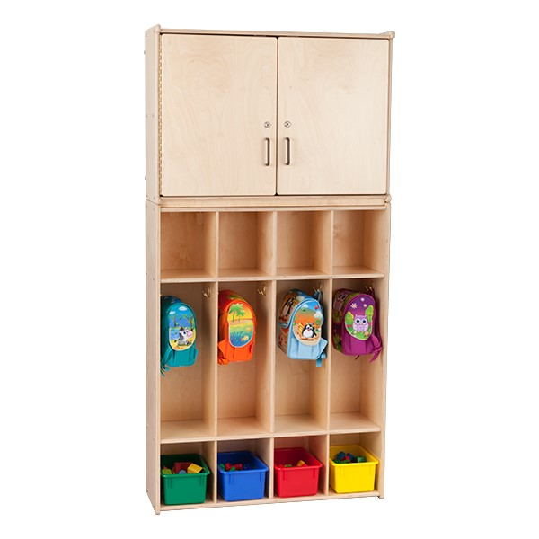 Wooden Storage Cabinet w/ Four-Section Locker Units - Assembled
