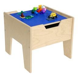 Wooden Two-In-One Toddler Game Table w/ Blue Baseplate