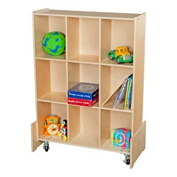 Wooden Mobile Storage Unit w/ White Board - Accessories not included
