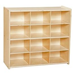 12-Tray Wooden Storage Unit - Unassembled & w/o Trays