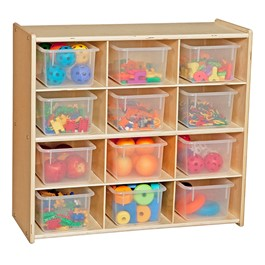 12-Tray Wooden Storage Unit - Assembled & w/ Clear Trays - Accessories not included