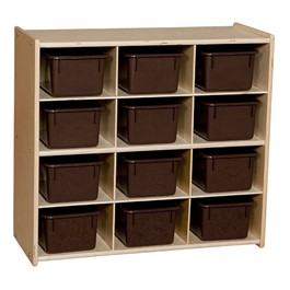 12-Tray Wooden Storage Unit - Assembled & w/ Chocolate Trays