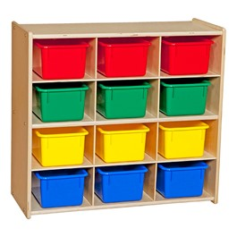 12-Tray Wooden Storage Unit - Unassembled & w/ Colorful Trays