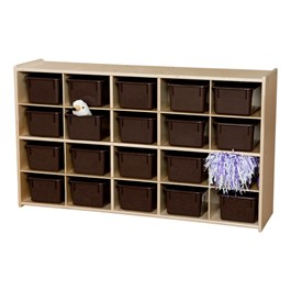 20-Tray Wooden Storage Unit - Unassembled & w/ Chocolate Trays - Accessories not included