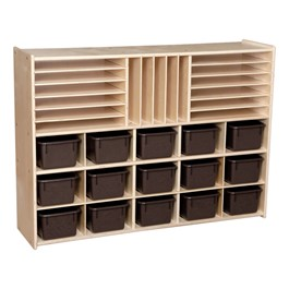 15-Tray Multi-Use Wooden Storage Unit - Unassembled & w/ Chocolate Trays