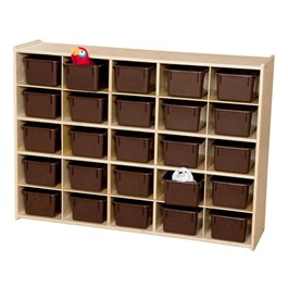 25-Tray Wooden Storage Unit - Unassembled & w/ Chocolate Trays - Accessories not included