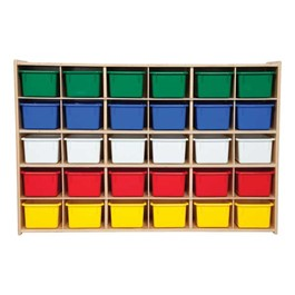 30-Tray Wooden Storage Unit - Unassembled & w/ Colorful Trays